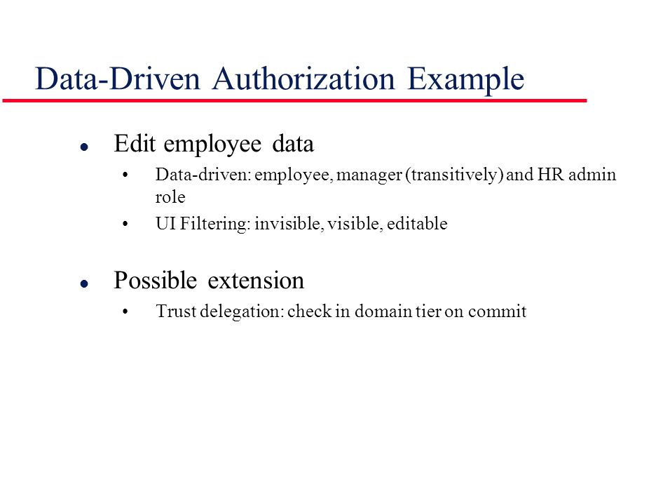 Data-Driven Authorization Example