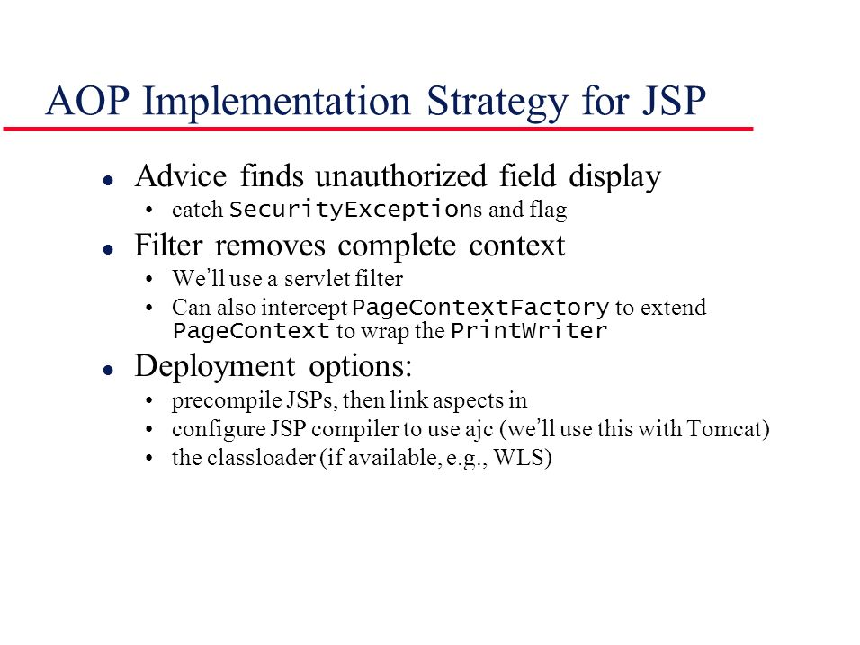 AOP Implementation Strategy for JSP