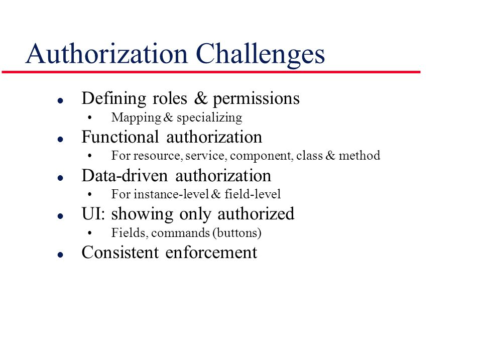 Authorization Challenges