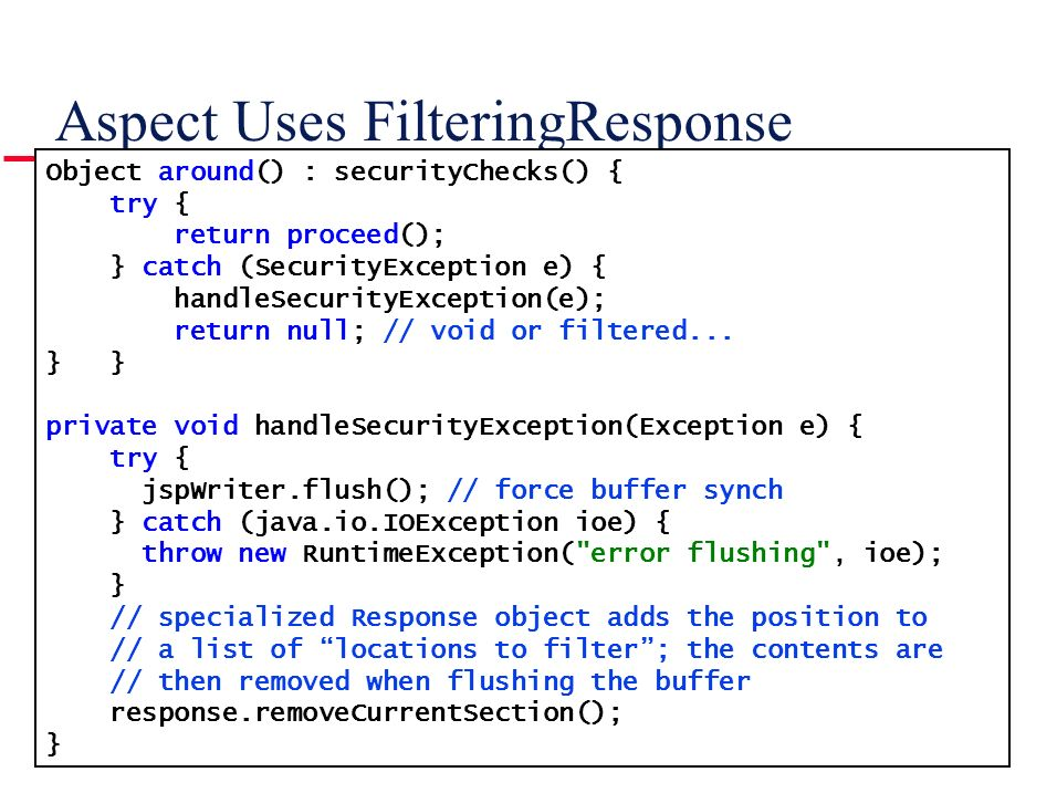 Aspect Uses FilteringResponse