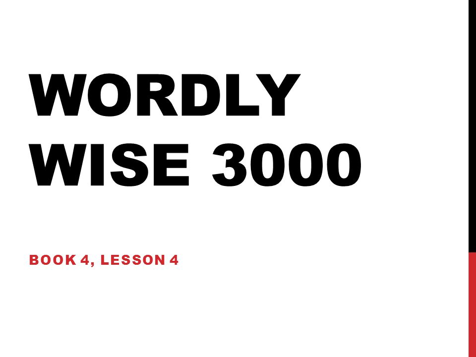 Wordly Wise 3000 Book 4 Lesson Ppt Download