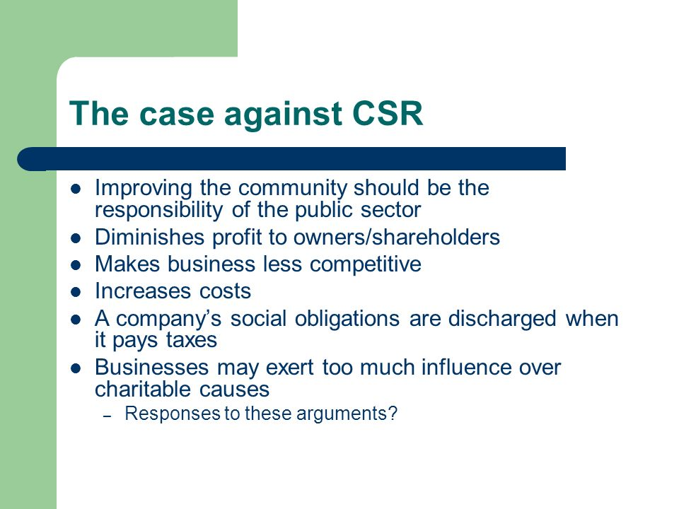 case against social responsibility