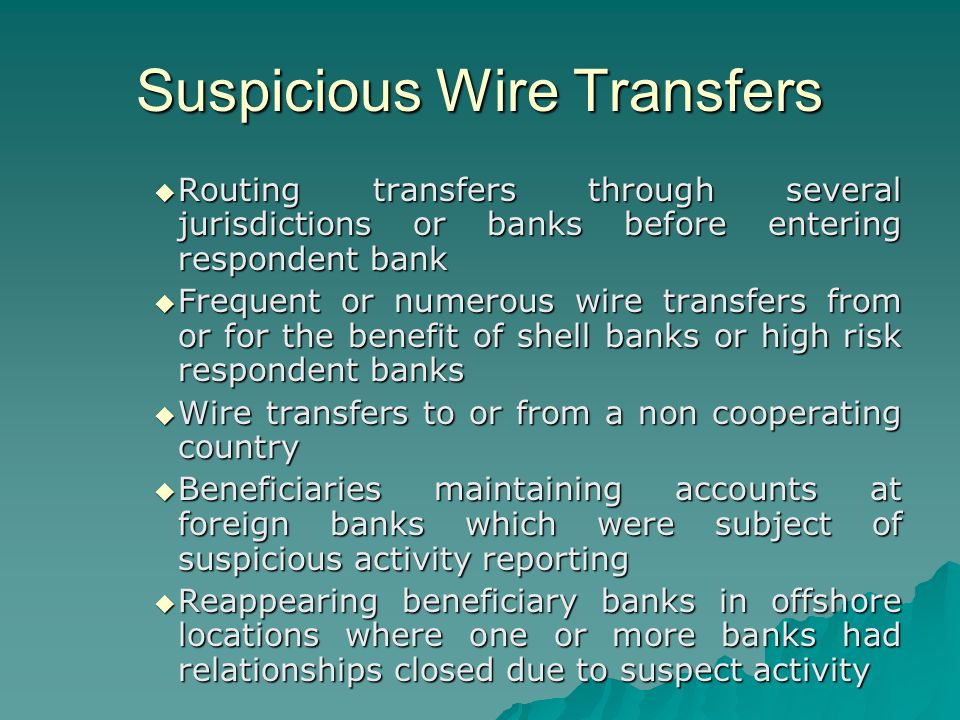 Correspondence Accounts and Wire Transfers - ppt video online download