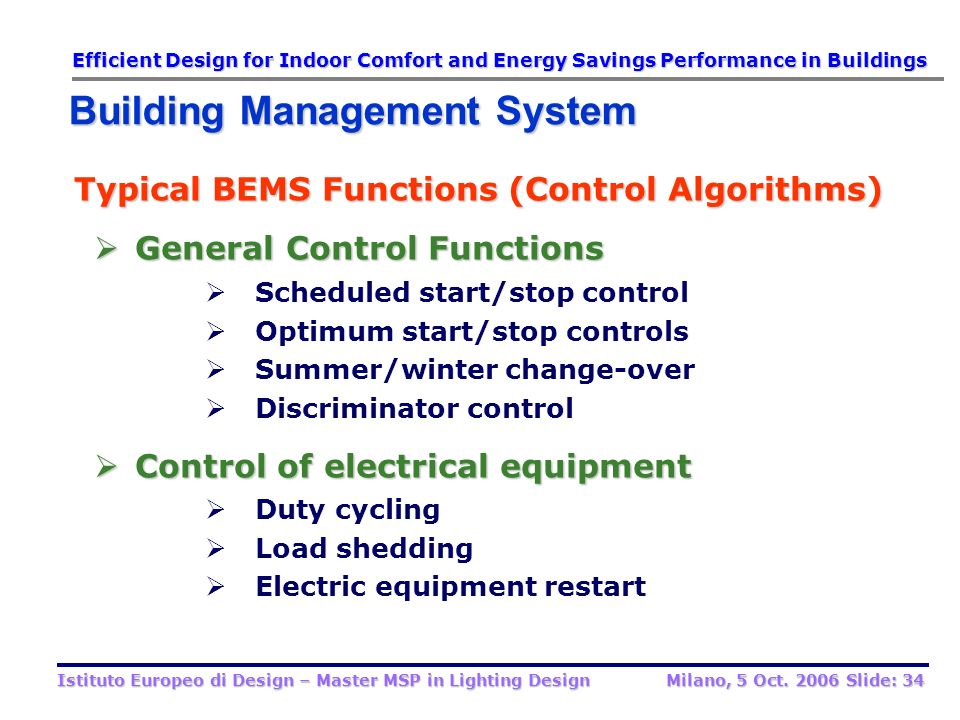 Typical BEMS Functions (Control Algorithms) General Control Functions