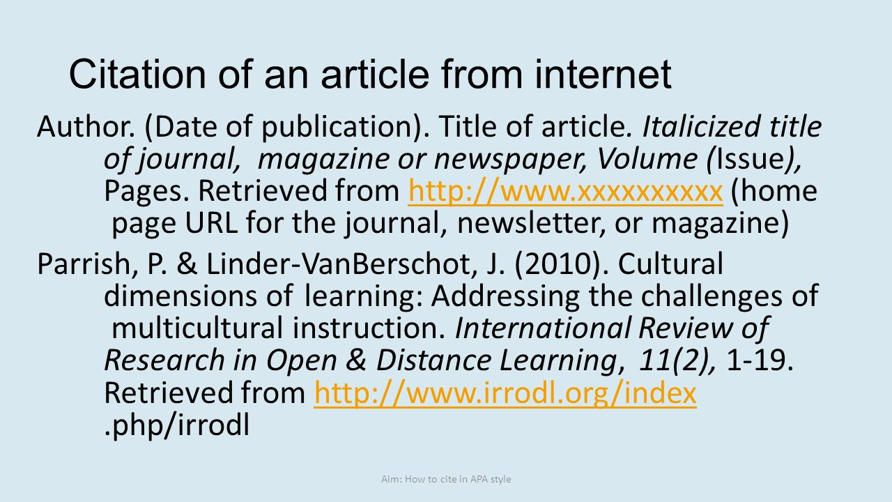 Aim how to cite in apa style ppt video online download citation of an article from internet ccuart Images