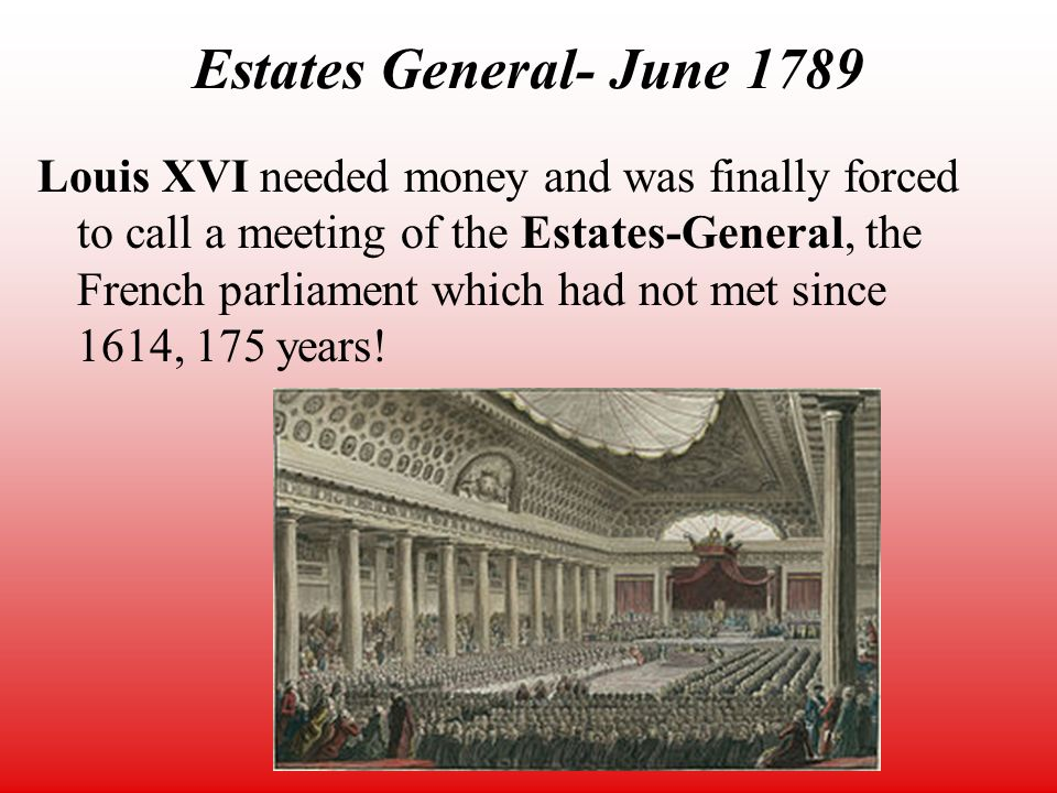 meeting of the estates general 178 The government of louis xvi in france was in such a desperate financial situation that the king had to call folr a meeting of the estates general if he wanted to raise more revenue the estates general gathered at versailles beginning in may, 1789.