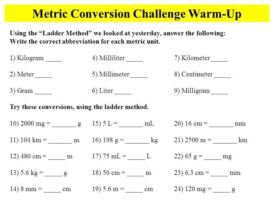 Metric Conversion Challenge Warm Up Ppt Video Online Download