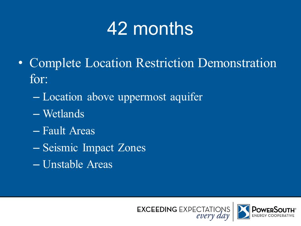 42 months Complete Location Restriction Demonstration for: