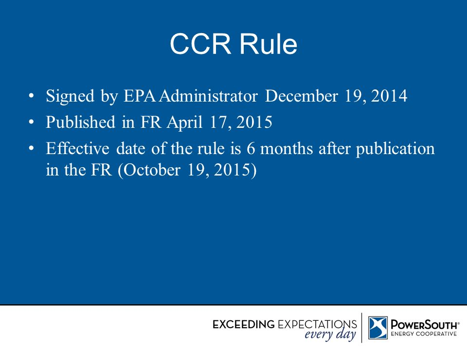 CCR Rule Signed by EPA Administrator December 19, 2014
