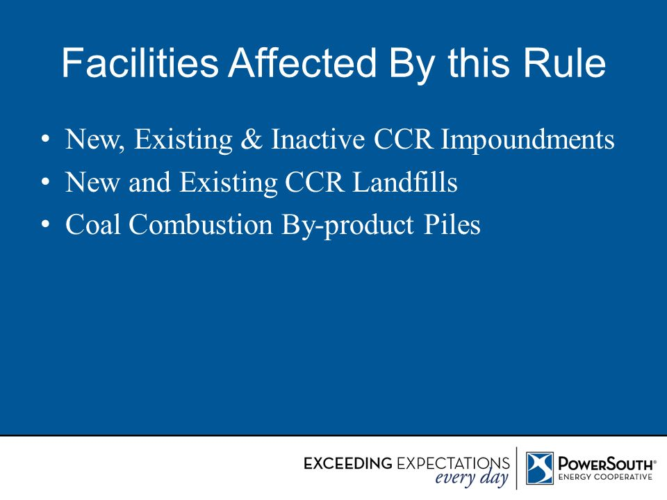 Facilities Affected By this Rule