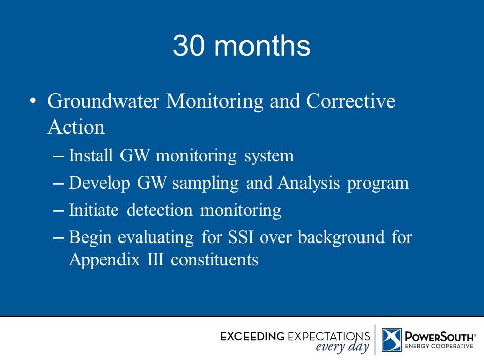 30 months Groundwater Monitoring and Corrective Action
