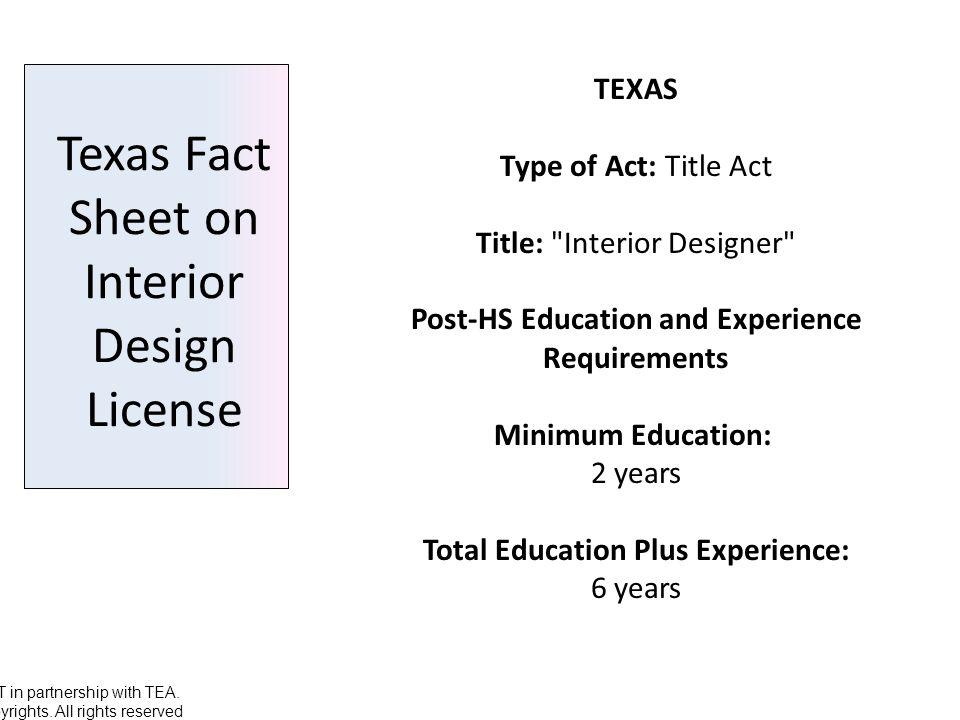 Texas Fact Sheet On Interior Design License