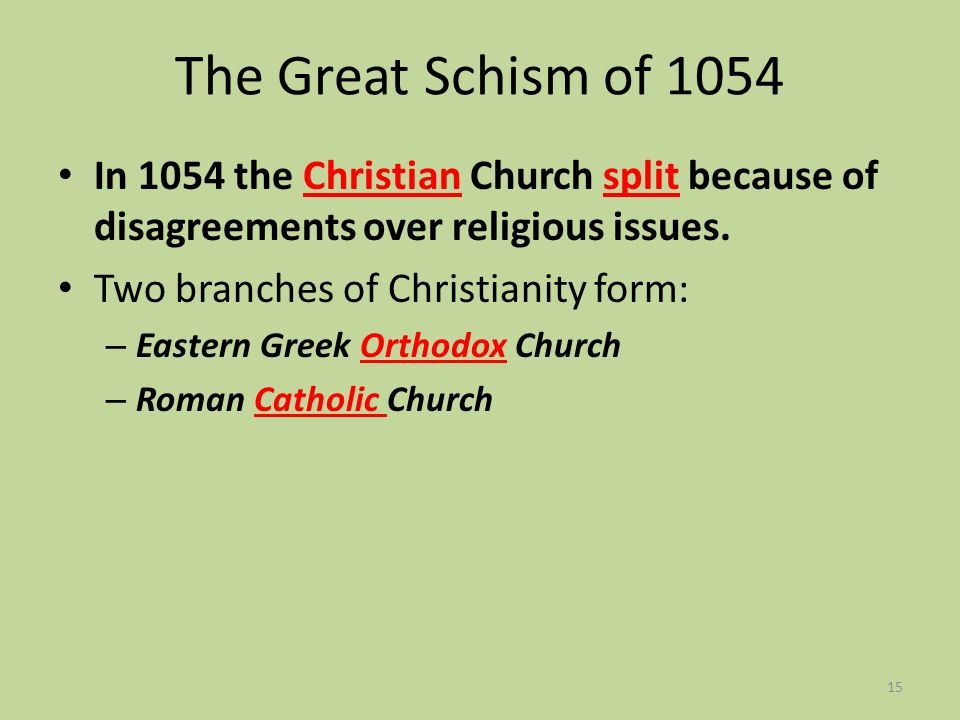 The Great Schism of 1054 In 1054 the Christian Church split because of disagreements over religious issues.