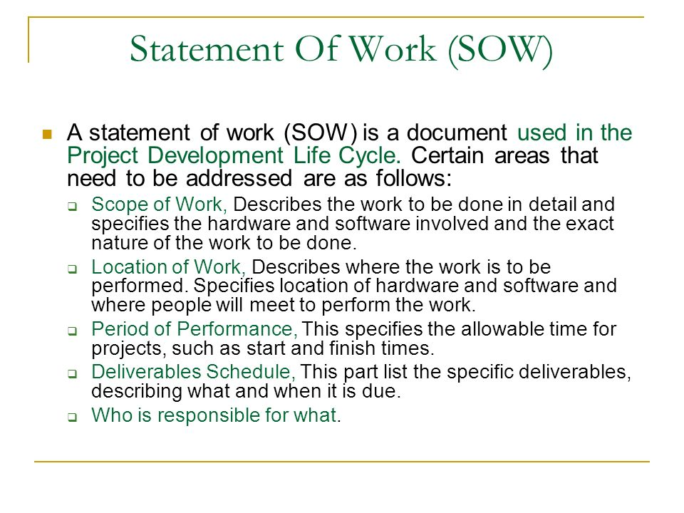 it statement of work