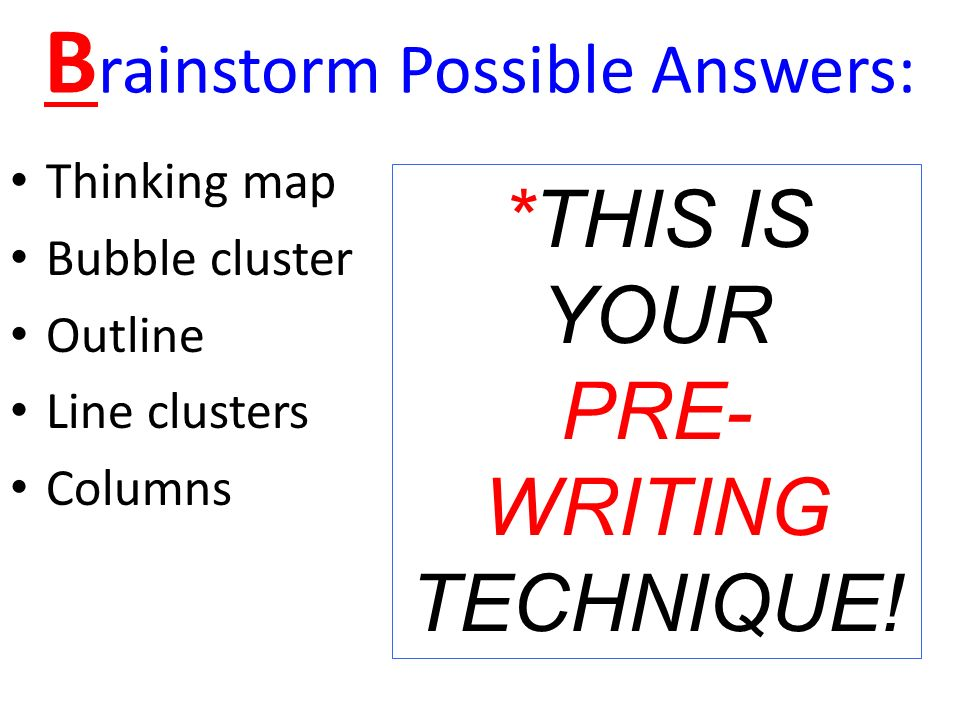 pre writing invention strategies Invention: starting the writing process writing takes time find out when is the assignment due and devise a plan of action pre-writing strategies once you have thesis statement just start writing don't feel constrained by format issues don't worry about spelling, grammar, or writing in complete.