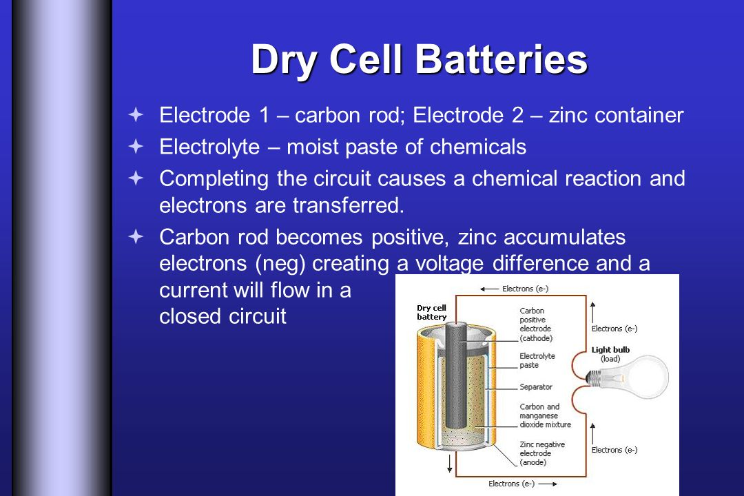 Dry Cell Batteries Electrode 1 – carbon rod; Electrode 2 – zinc container. Electrolyte – moist paste of chemicals.