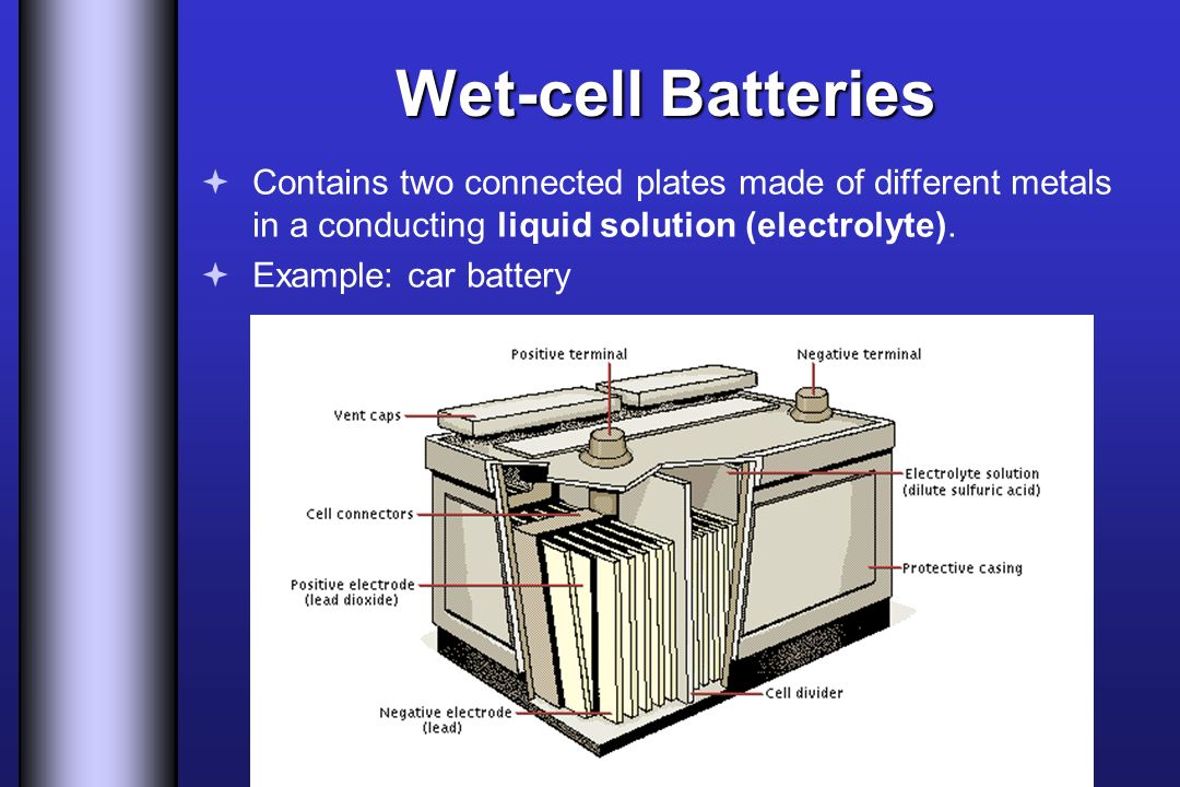 Wet-cell Batteries Contains two connected plates made of different metals in a conducting liquid solution (electrolyte).