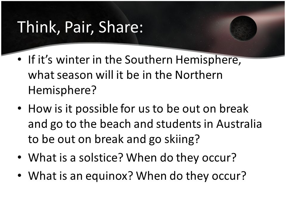 Think, Pair, Share: If it's winter in the Southern Hemisphere, what season will it be in the Northern Hemisphere