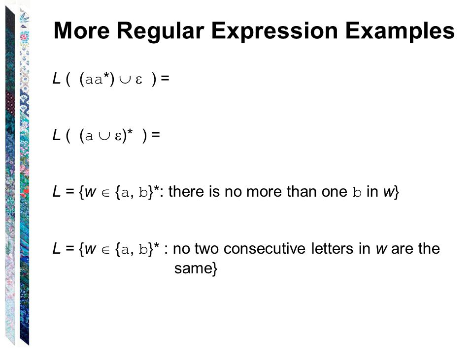 More Regular Expression Examples