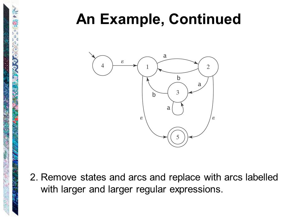An Example, Continued 2. Remove states and arcs and replace with arcs labelled.
