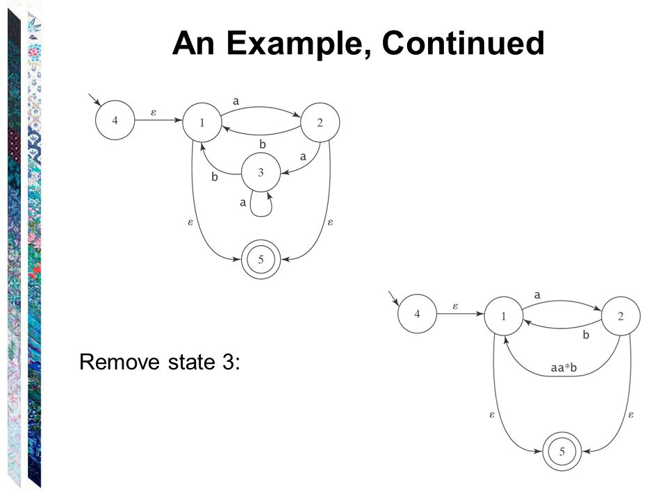 An Example, Continued Remove state 3: