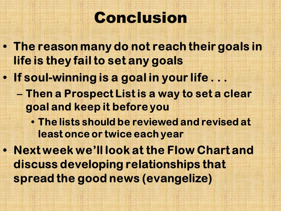 conclusion about goals in life