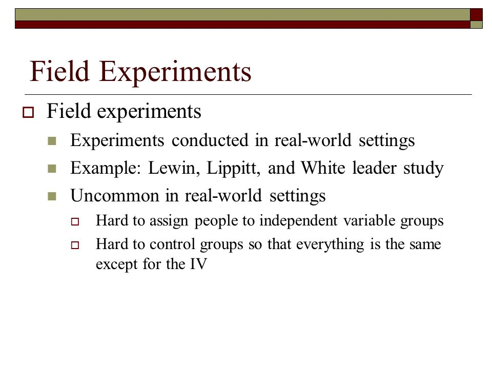 example of a field experiment