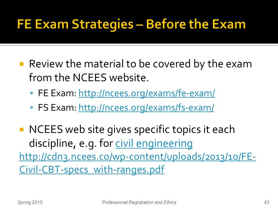 Professional Registration Ethics And Fefs Test Strategy Ppt