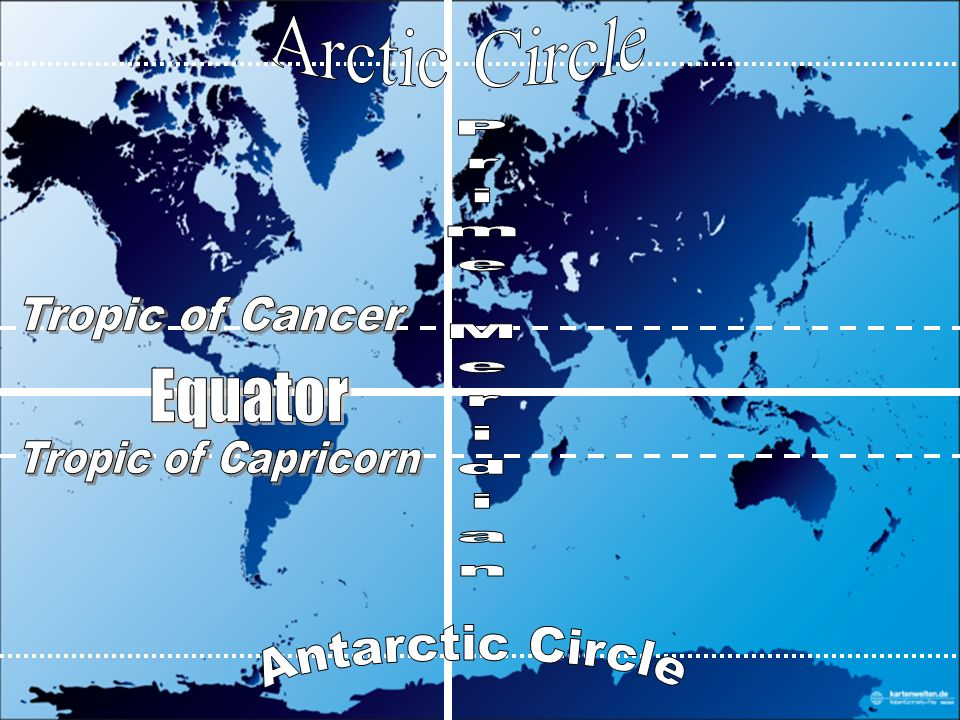 Continents oceans and lines latitude ppt video online download 17 arctic circle tropic of cancer prime meridian equator tropic of capricorn antarctic circle gumiabroncs Images