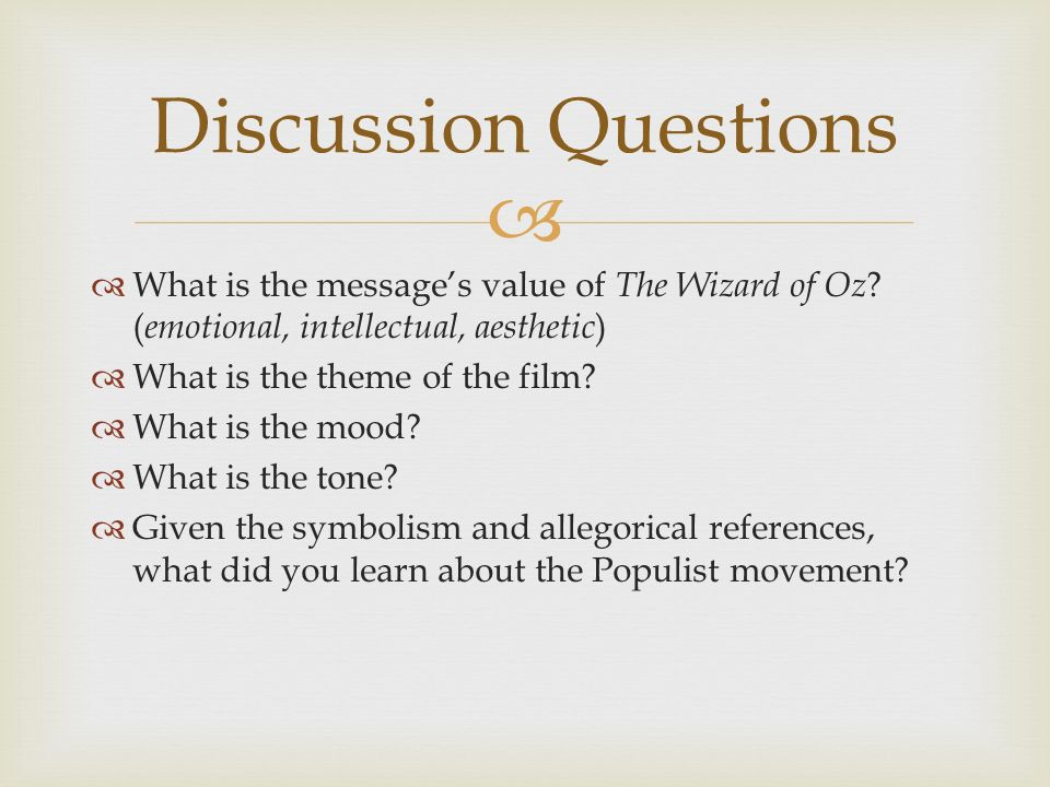 The Wizard Of Oz An Allegory Of Populism Ppt Video Online Download