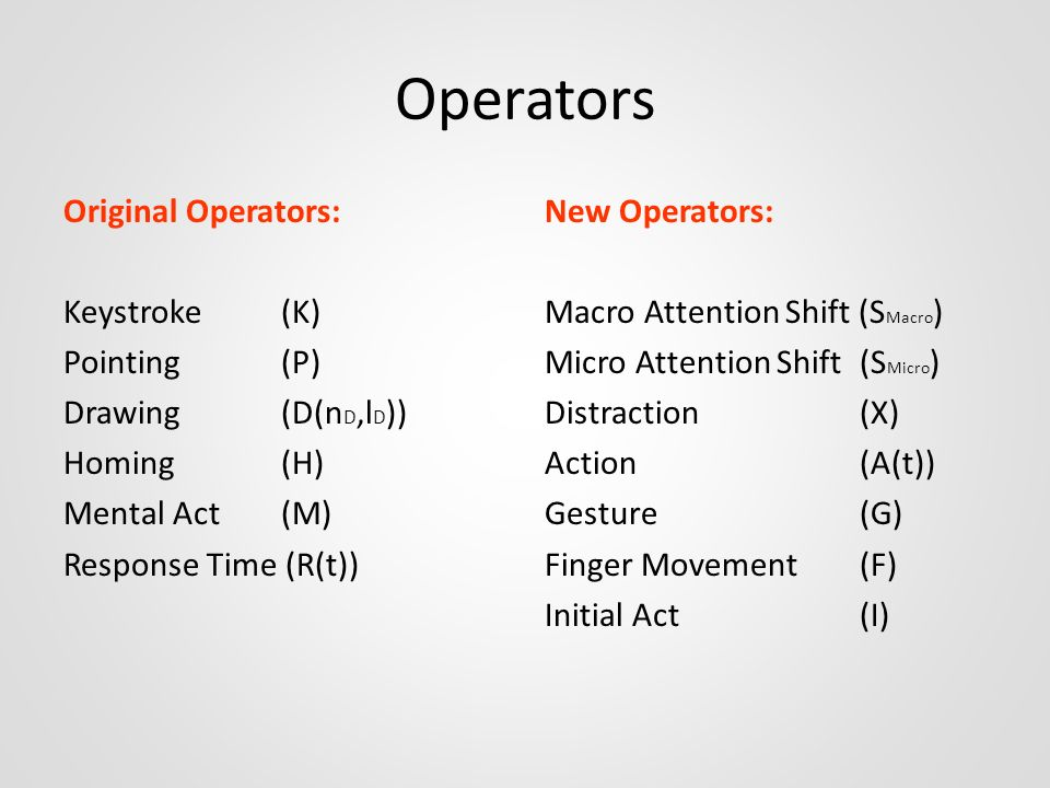 Operators Original Operators: Keystroke (K) Pointing (P) Drawing (D(nD,lD)) Homing (H) Mental Act (M) Response Time (R(t))