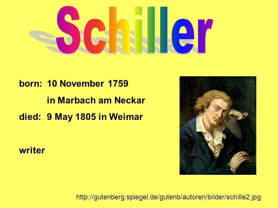 Schiller born: 10 November 1759 in Marbach am Neckar