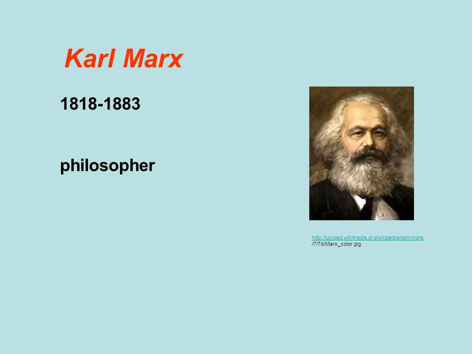 Karl Marx 1818-1883 philosopher