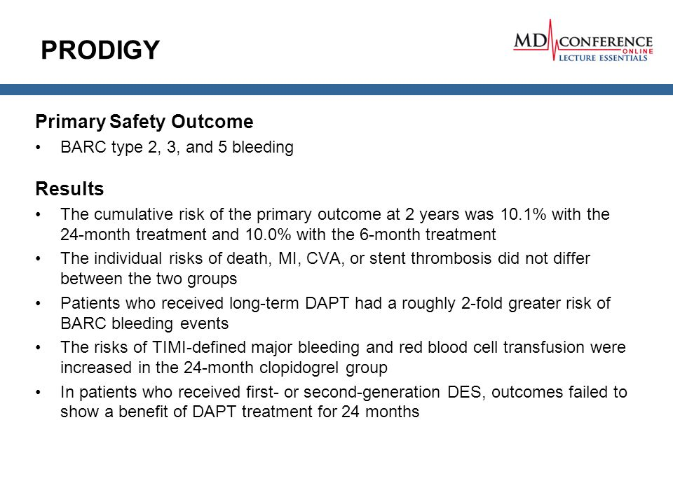 PRODIGY Primary Safety Outcome Results BARC type 2, 3, and 5 bleeding