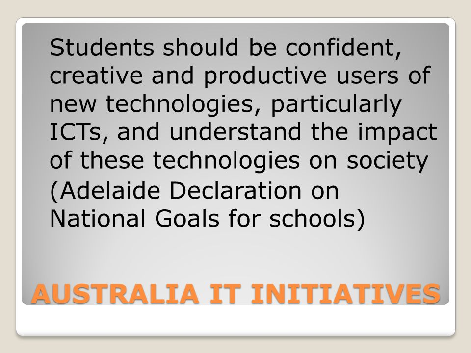 AUSTRALIA IT INITIATIVES
