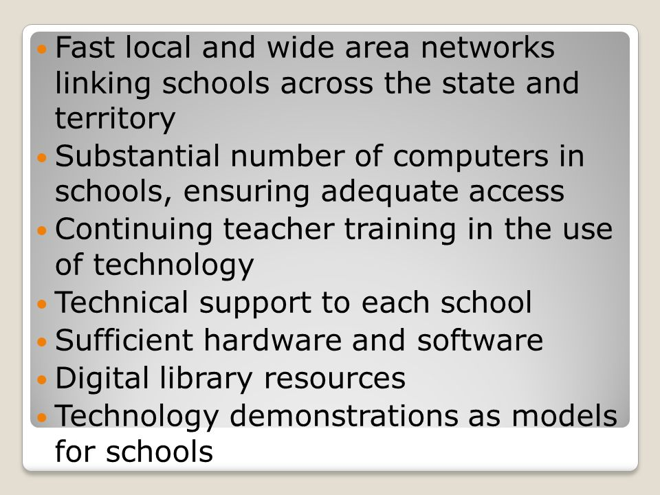 Fast local and wide area networks linking schools across the state and territory