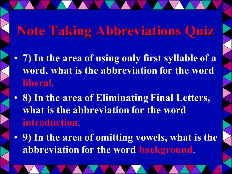 Note Taking Abbreviations Quiz