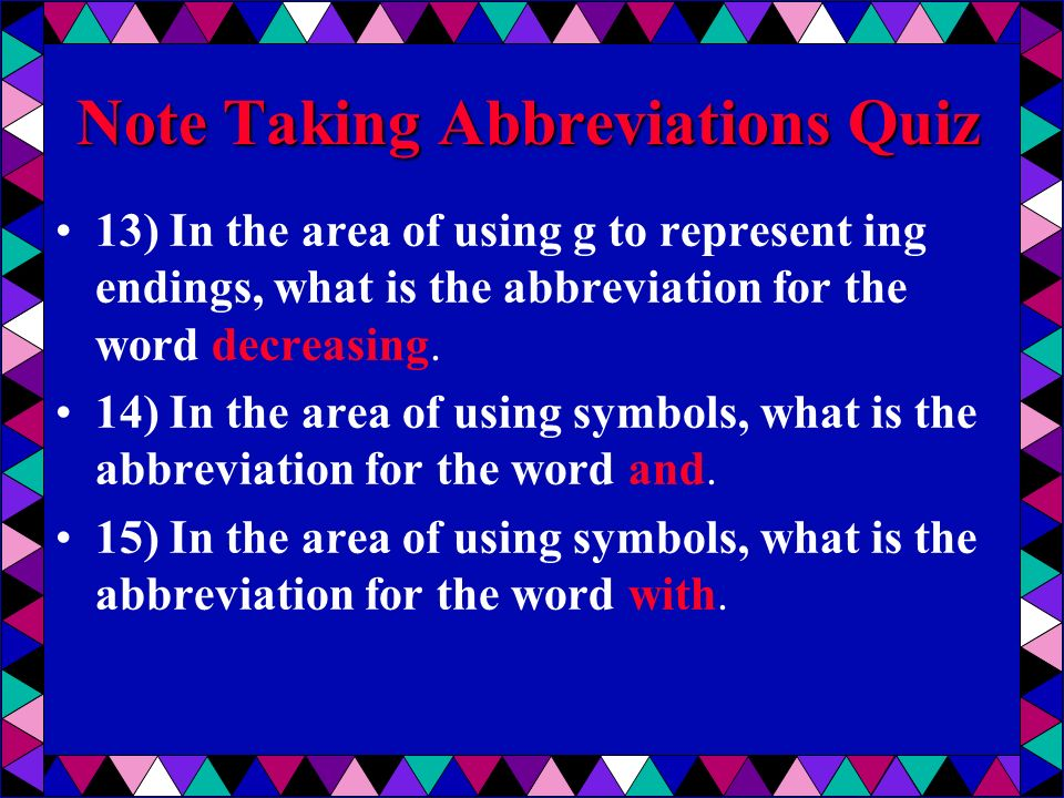 Abbreviations In Note Taking Ppt Video Online Download