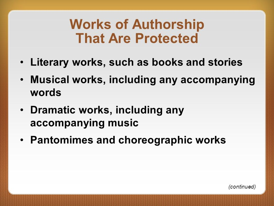 Works of Authorship That Are Protected