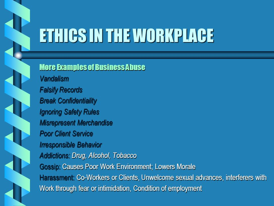Examples Of Work Ethic Ethics In The Workplace Ppt Video Online Download