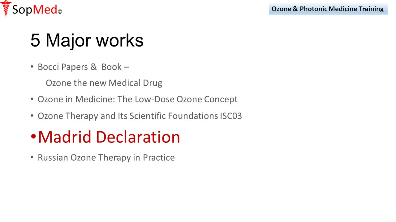 Oxidative and Photonic Medicine 1 Day Training Seminar - ppt