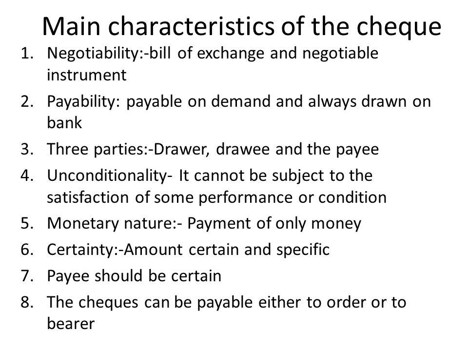 characteristics of negotiable instrument