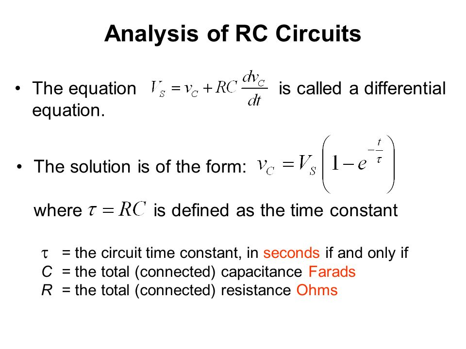 Rc Circuit Time Constant Equation Enthusiast Wiring Diagrams