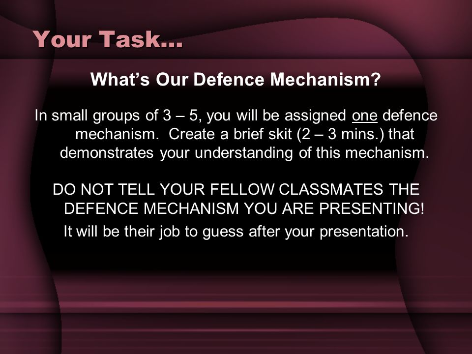 What's Our Defence Mechanism