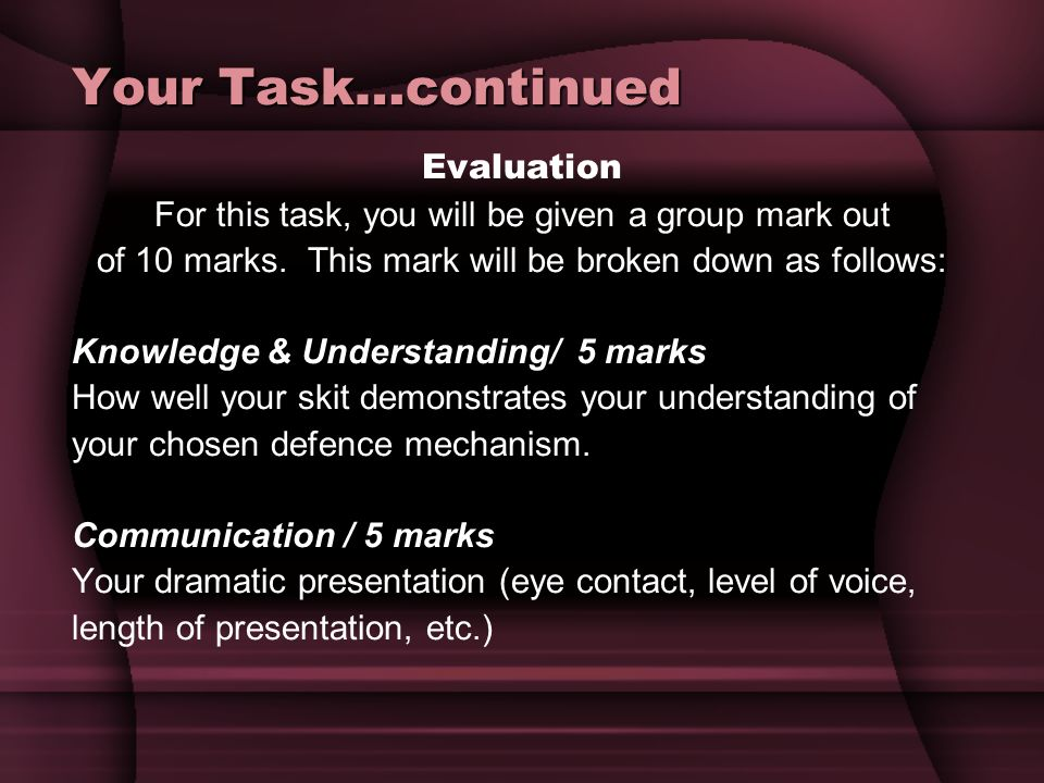 Your Task…continued Evaluation