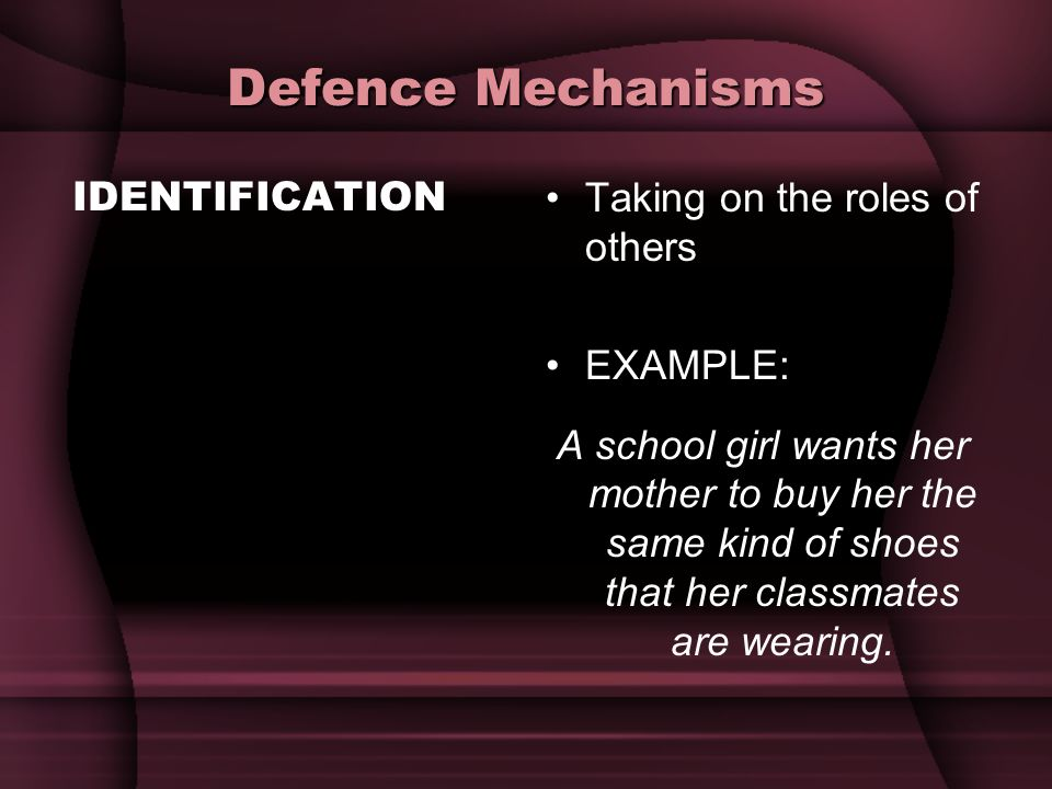 Defence Mechanisms IDENTIFICATION Taking on the roles of others