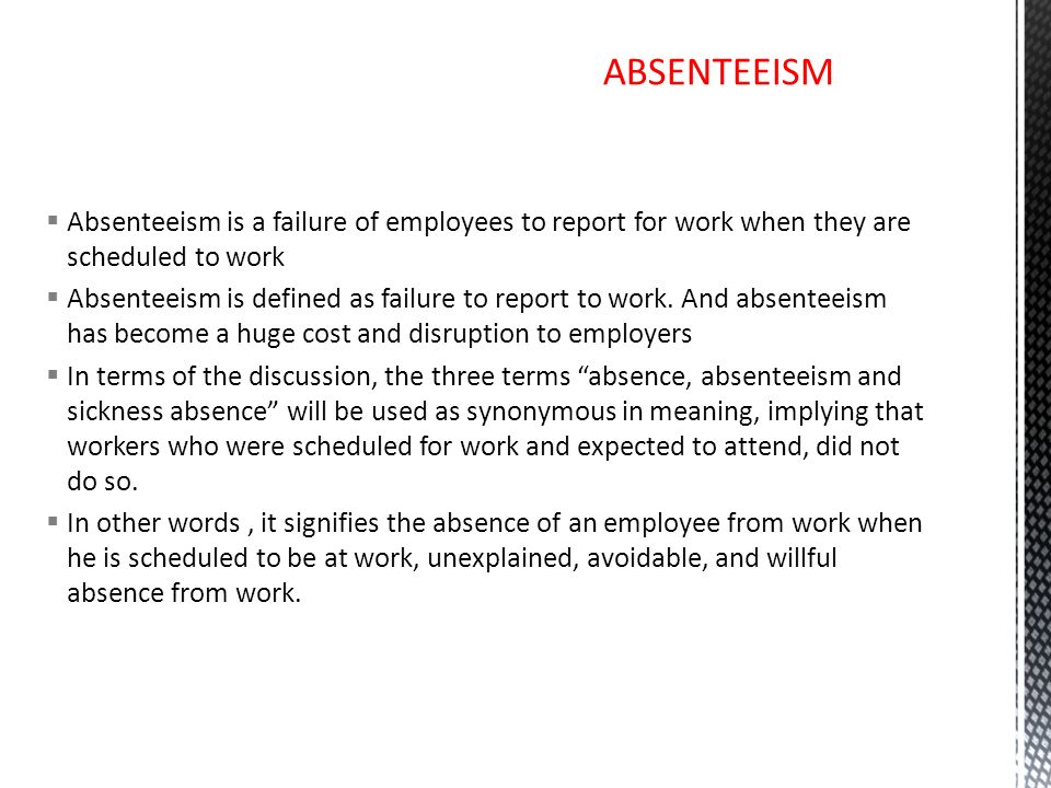 absenteeism and turnover