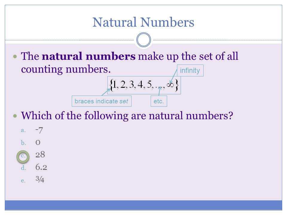 Natural Numbers The natural numbers make up the set of all counting numbers. Which of the following are natural numbers