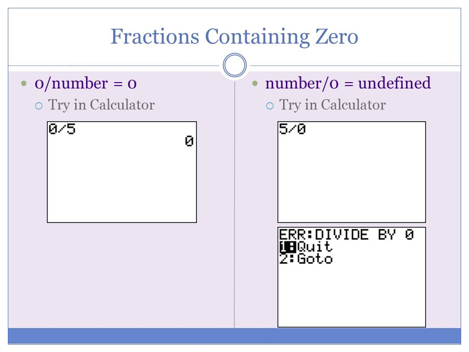 Fractions Containing Zero