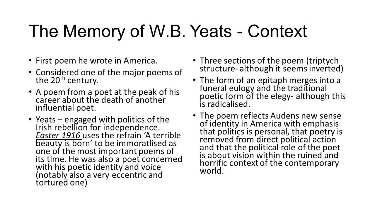 yeats poem Yeats wrote a series of rose poems, including to the rose upon the rood of time, the secret rose, the rose tree and the rose of the world for yeats, the flower reconciles the binary of temporal and eternal.